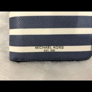 Michael Kors Bags - Michael Kors blue white stripe Grant NEW wallet